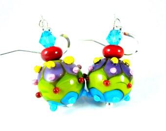 Colorful Funky Round Glass Dangle Earrings, Blue Green Yellow Pink Purple Bumpy Earrings Fun Jewelry Lampwork Earrings Bright Color Earrings