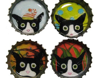 Folle de chat aimants - Smoking Funny Cat Art - capsules de bouteilles aimants - lot de 4 - silencieux Mylo Smoking Cat - cadeau pour les amoureux des chats - chat cadeaux