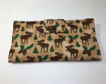 Ladies Wallet, Moose Wallet, Bifold Clutch, Woman's Fabric Wallet,  Made in USA