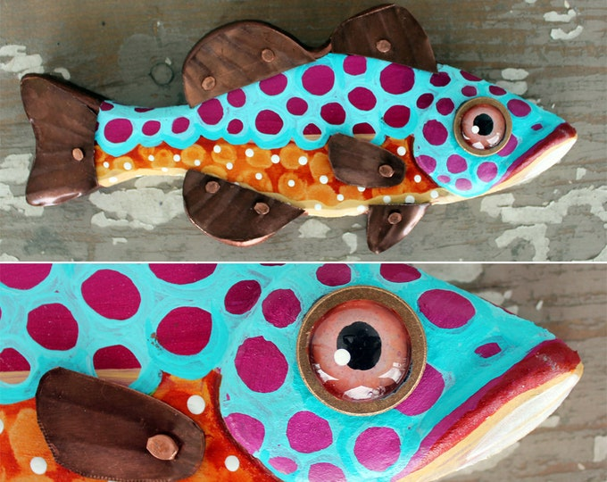"Tara, 10"" Bass Minnow, Fun Carved Hand-Painted Wood Fish Wall Art,Copper Fins, Happy Colorful Folk Art,Made in Vermont,Fish Sculpture,Unique"
