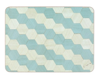 6 Placemats Duck Egg Blue Melamine Heat Resistant Tablemats Rectangle or Hexagon shape place mat Wedding Anniversary Gift mothers day gift