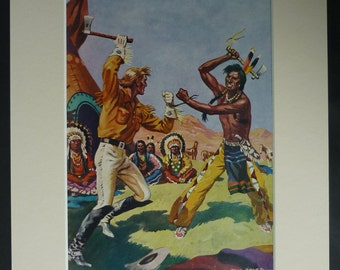 1950s Vintage Cowboy Print Retro Cowboys And Indians Decor Available Framed Western Art
