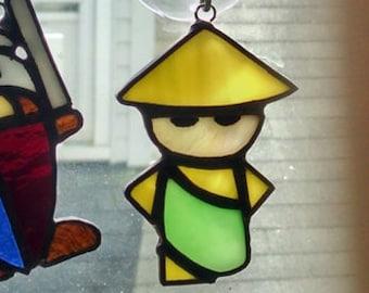Itty Bitty Monk Stained Glass Suncatcher