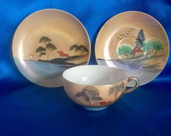Japanese Handpainted Trio, Cup, Saucer & Plate  Made in Japan