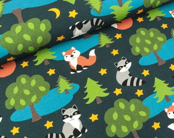 Cotton jersey forest Animals fox and raccoon on Deep blue (15.50 EUR/meter)