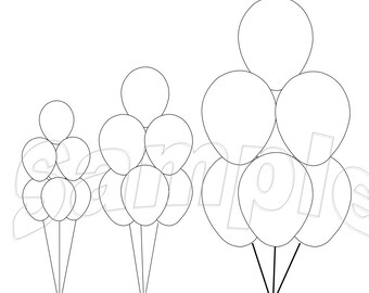 """11"""", 16"""" and 24"""" balloon bouquet templates in Publisher, JPG and PDF formats"""