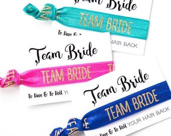 YOU DESIGN Bridal Party Hair Ties   Wedding + Bridesmaid Gift Hair Ties, Bachelorette Party Survival Kit Favors, Team Bride Hair Tie Favors