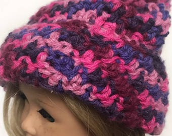 "Crochet Pattern - Crunch Stitch Hat with Pom Pom for 18"" and American Girl Dolls"