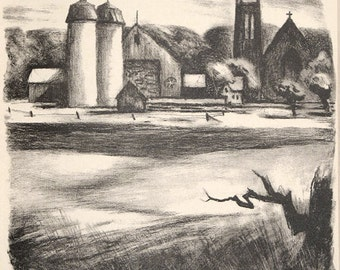 Benton Spruance Original Pencil Signed Stone Lithograph Bucks County, PA 1948 Unmatted, Unframed