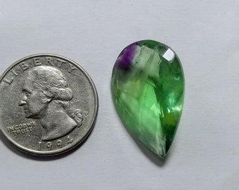 green fluorite cabochon natural gemstone 28.40cts 25x16x8mm