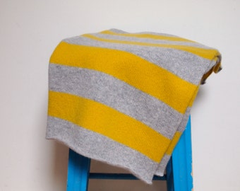 Available In 3 Sizes - Knitted Lambswool Grey and Golden Yellow Striped Blanket