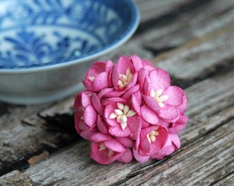 10 pcs . Fuchsia Pink Cherry Blossoms . Small Paper Flowers Wedding Paper Flowers . Mulberry Millinery Flowers . Boutonniere Corsage Flowers