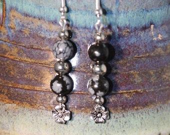 Snowflake Obsidian Earrings - Item 1076