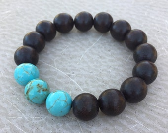 Turquoise and Wood Bead Bracelet - Bohemian Stacking Bracelet Boho Style - Turquoise Trio Handmade by SplendorVendor