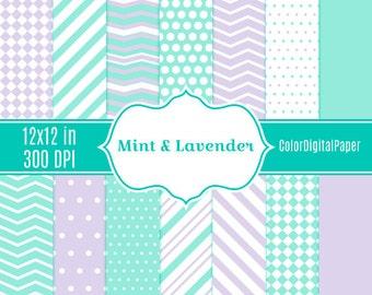 Mint&Lavender Digital Paper, Stripe Chevron Dots Pattern, Commercial Use, Instant Download, Scrapbook Paper, Pastel Colors, Easter, Spring