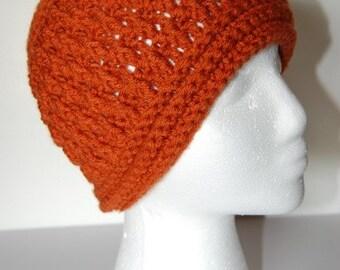 Crochet rust color hat