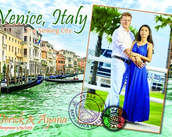 """NEW!! Personalized Venice Travel Wood Photo Print 5"""" x 7"""" Template."""