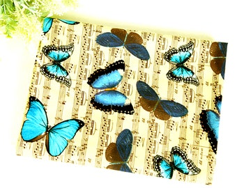 Mystery Butterfly 100% Cotton Fabric / Musical notes dancing Blue butterflies Quilting / Yk fabrics JC5/45-