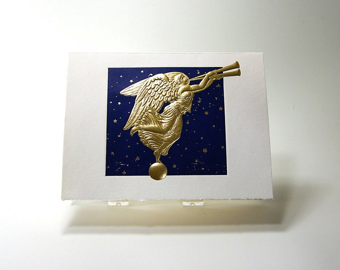 Christmas Angel Card. Letterpress. Embossed. Gold. Blue. Single card. Blank inside.