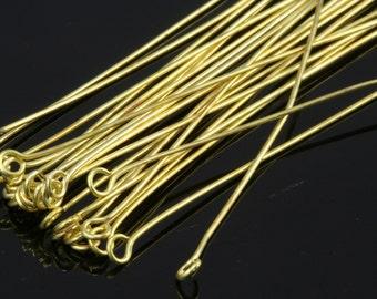 Brass eye pin 100 pcs 60 mm 20 gauge( 0,8 mm ) raw brass (varnish) 6020EV-28
