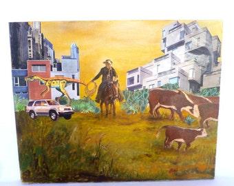 URBAN COWBOY Upcycled Mixed Media Vintage ART on Canvas