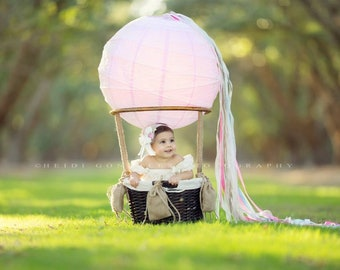 Lil One's Hot Air Balloon Basket Photo Prop for Newborns or Tots, Hot Air Balloon Photo Prop, Hot Air Balloon Photography Prop, Newborn Prop