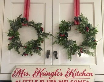 """Mrs. Kringles Kitchen/ White and Red Handpainted Wood Sign / Christmas Sign / 6"""" x 24"""" / Annie Sloan Old White Chalk Paint with Red Acrylics"""