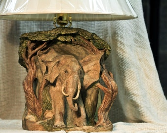 Hand Sculpted Stoneware Elephant Lamp