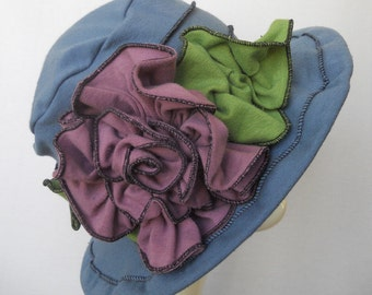 Ladies Spring Hat - Edwardian Travel Hat -  Organic Cotton and Hemp Jersey -Wedgewood Blue - Mabel Rose