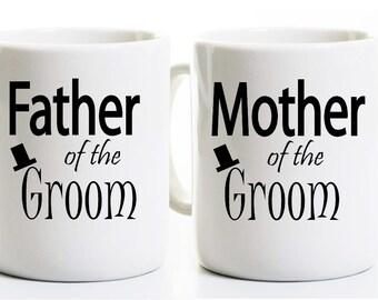 Father and Mother of the Groom Coffee Mugs - Parents Wedding Groom Gift - Tea Cups - Mug Set