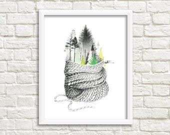 8 x 10 poster. Art watercolor illustration. Winter illustration. Comforting drawing. Illustration made by Katrinn Illustration