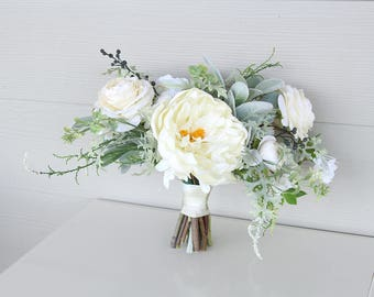 Loose Garden Style Faux Flower Wedding Bouquet | Cream, White, Mint and Gray-Green | Peony and Ranunculus Bridal Bouquet | SG-1050