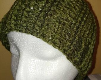 Teen-Adult Green Crocheted Hat
