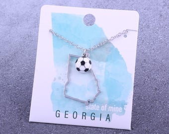 Customizable! State of Mine: Georgia Soccer Enamel Necklace - Great Soccer Gift!