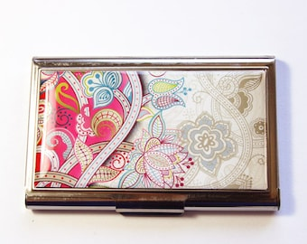 Business Card Case, Card case, business card holder, Card case for her, Pink case, Paisley case, pink paisley (2916)