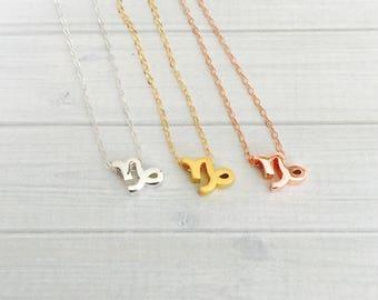 Capricorn Zodiac Necklace - Capricorn Zodiac Symbol Necklace - Capricorn Zodiac Sign Necklace - Zodiac Jewelry