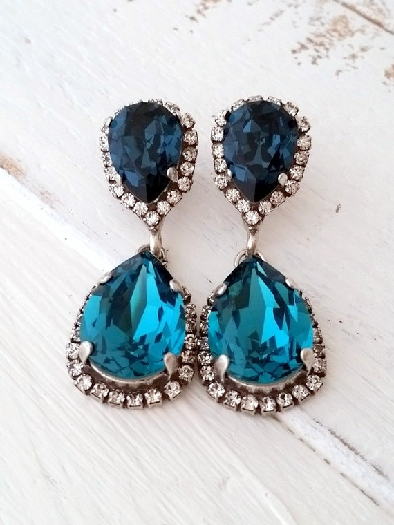Navy blue and teal chandelier earringsteal blue drop mozeypictures Image collections