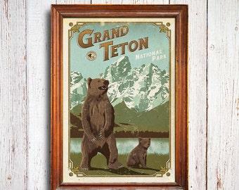 Grand Teton Poster, Grand Teton National Park print, Wyoming Poster, Grizzly Poster, national park quest poster, Grizzly cub poster