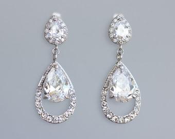 ON SALE Bridal Chandelier Earrings, Clip on Earring Option, Crystal Teardrop Earrings, Silver Bridal Jewelry, Wedding Jewelry, JASMINE