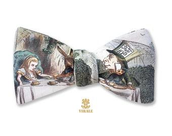Virale by Dr. B. Alice in Wonderland Organic Cotton Sateen Reversible Bow Tie Rabbit Hole Looking Glass Hookah Fantasy