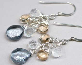 Gray and Gold - gray quartz, champagne quartz, rainbow moonstone earrings