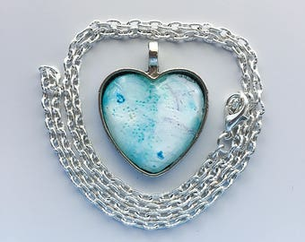 Blue Heart Pendant Necklace, Wearable Art, Heart Pendant, Silver Heart OOAK, Christmas gifts for her, unique gifts, necklace gift 132