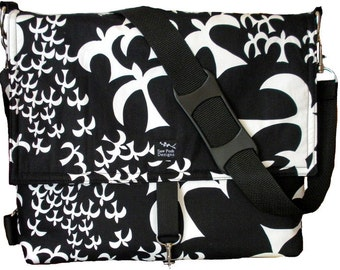Birds Doves Seagulls Black White Fabric Convertible Messenger Backpack Camera Computer Diaper Laptop Bag