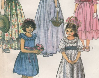 Long Dresses, Flower Girl, or Short Ruffled Dress for Little Girls Size 4, Uncut Vintage Sewing Pattern, 1980s