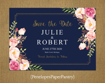 Elegant Navy Floral Save The Date Card,Pink,Blush,Roses,Gold Border,Gold Print,Shimmery,Personalize,Printed Cards,Envelopes
