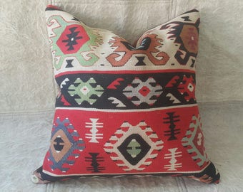 Kilim Pillow 18x18 inches Anatolian Kilim Pillow 45x45cm Decorative Hand Made Kilim Pillow Cover Cushion Cover Aztec Pillow Turkish Pillow