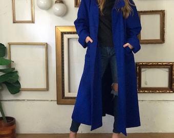 Rad 80s Long Blue Black Splatter Wool Coat - FREE SHIP - sz6-14