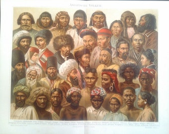 """Chromolithograph, """"Asian people""""."""