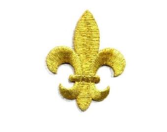 "Fleur De Lis - Gold Metallic - Embroidered Iron On Applique Patch - 2.5"" High"