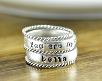 Sterling Silver Ring, You are my sunshine, Hand Stamped Ring, Mothers Ring - Stackable Name Rings - Name Rings - You are My Sunshine Jewelry